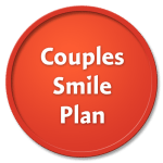 Couples Smile Plan on a red circle against a black background