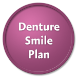 Denture Smile Plan on a pink circle against a black background