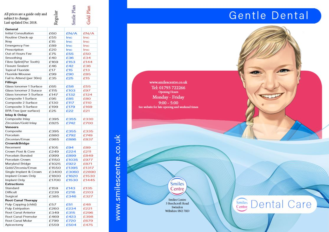 smiles centre swindon dental price list 2019